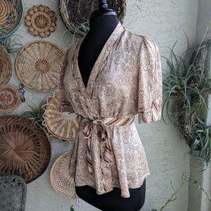 BCBGMaxAzria M 100% Silk wrap blouse EUC